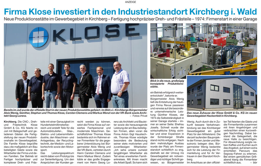 Neue Produktionsstätte im Gewerbegebiet in Kirchberg