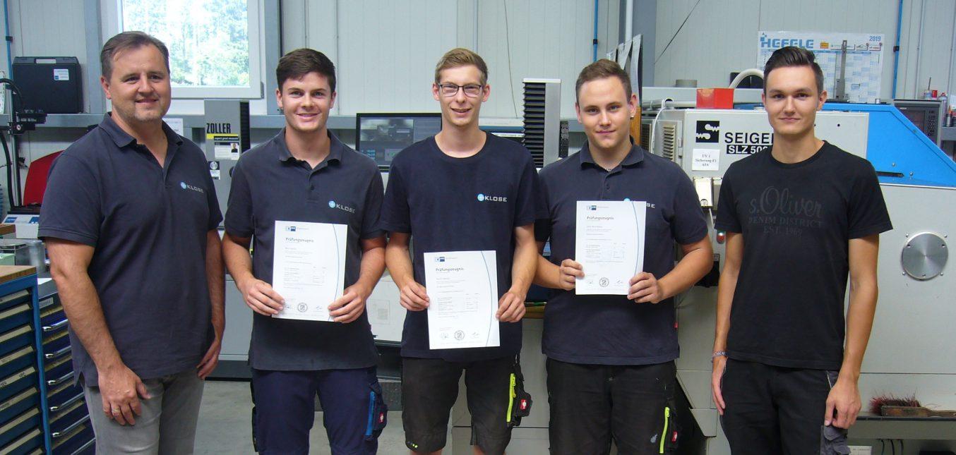 Drei neue Fachkräfte als Zerspanungsmechaniker